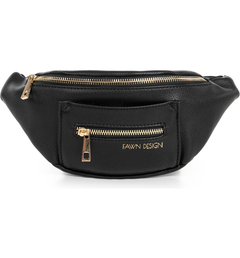 FAWN DESIGN The Fawny Faux Leather Belt Bag, Main, color, 001