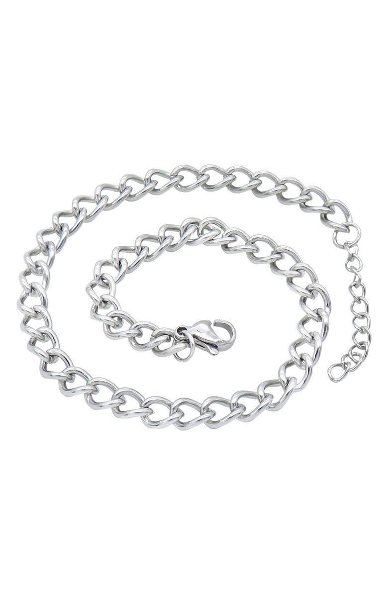 ADORNIA Curb Chain Anklet, Main, color, SILVER