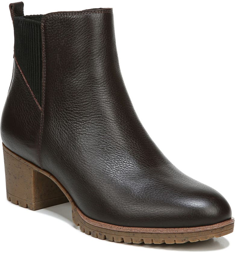 DR. SCHOLL'S Lively Waterproof Bootie, Main, color, BROWN LEATHER