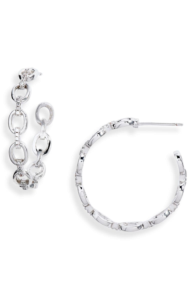 STERLING FOREVER Chain Hoop Earrings, Main, color, SILVER