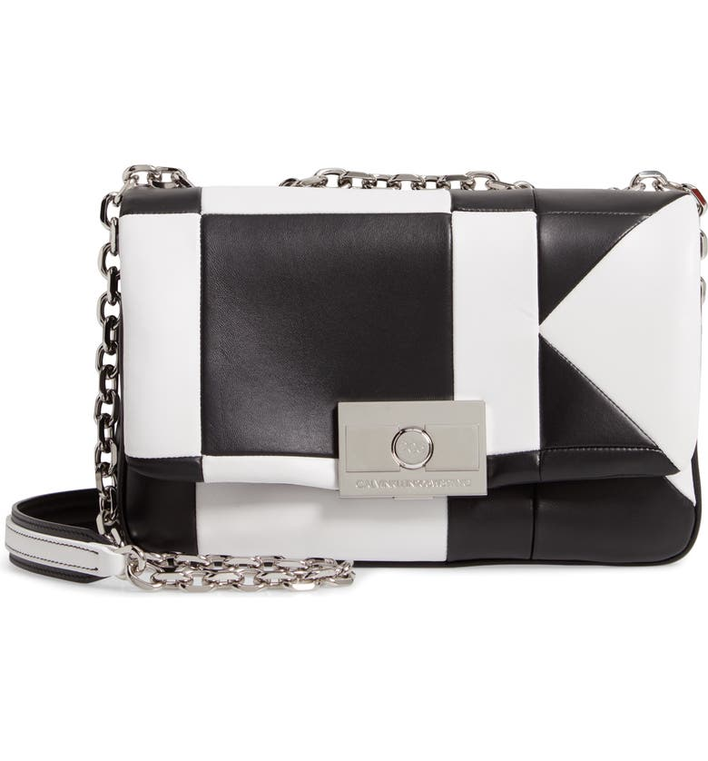 CALVIN KLEIN 205W39NYC Calvin Klein Large Quilted Leather Shoulder Bag, Main, color, 007