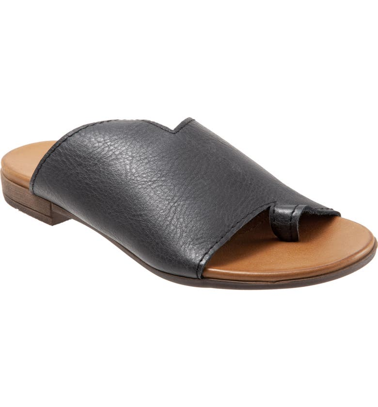 BUENO Tulla Slide Sandal, Main, color, BLACK/ TAN LEATHER
