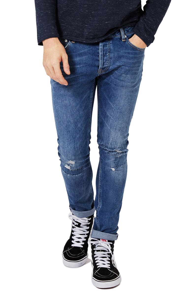 TOPMAN Ripped Stretch Skinny Fit Jeans, Main, color, 400
