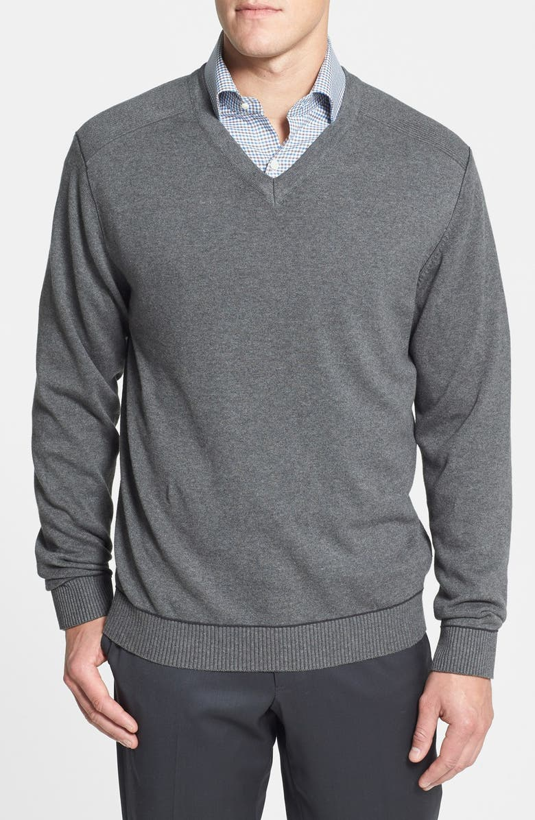 CUTTER & BUCK 'Broadview' Cotton V-Neck Sweater, Main, color, 020