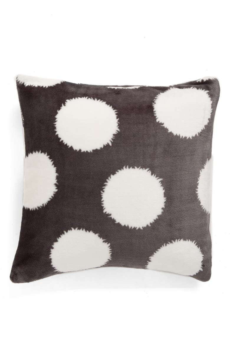 NORDSTROM at Home Printed Plush Pillow, Main, color, GREY MAGNET DOT