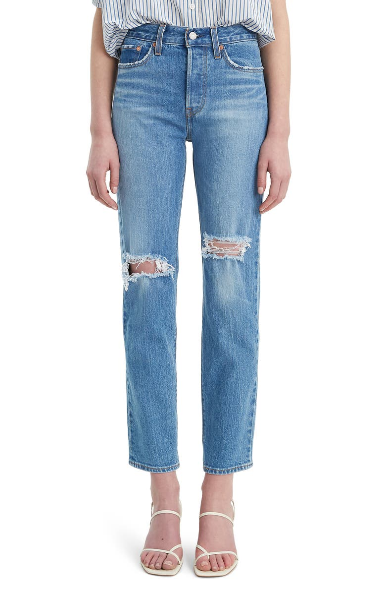 LEVI'S<SUP>®</SUP> Wedgie Icon Fit Ripped Straight Leg Jeans, Main, color, 401