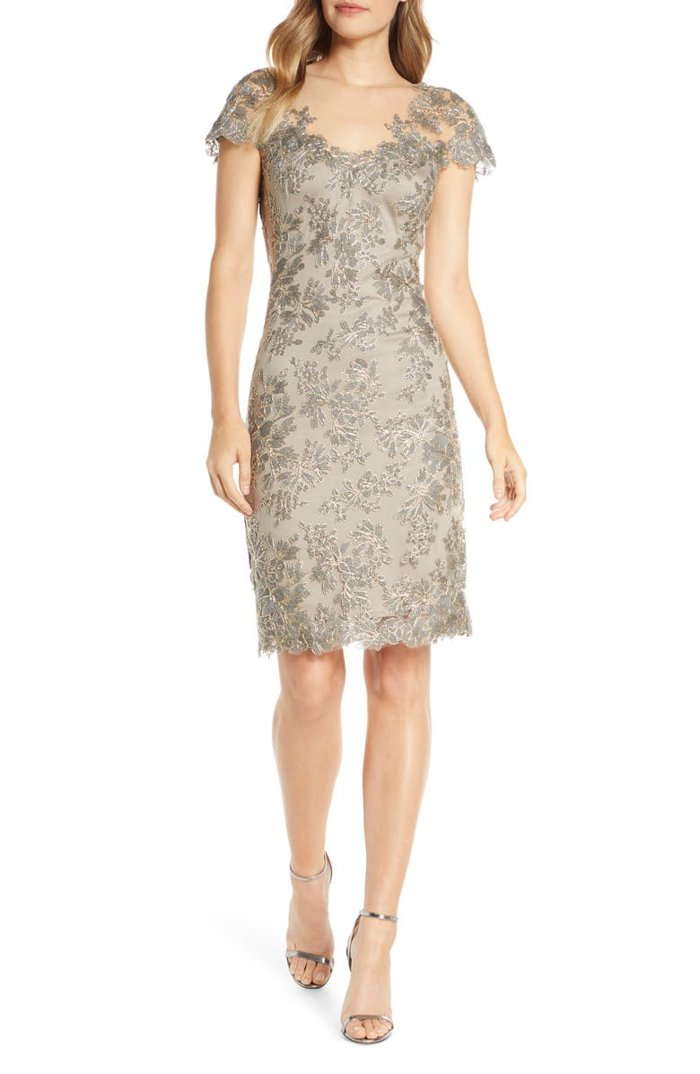 TADASHI SHOJI Embroidered Mesh Cocktail Dress, Main, color, 020