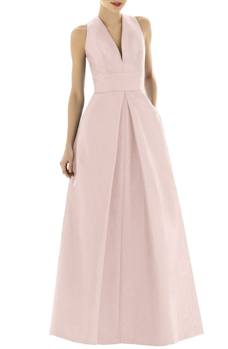 ALFRED SUNG Dupioni Pleat A-Line Gown, Main, color, PEARL PINK