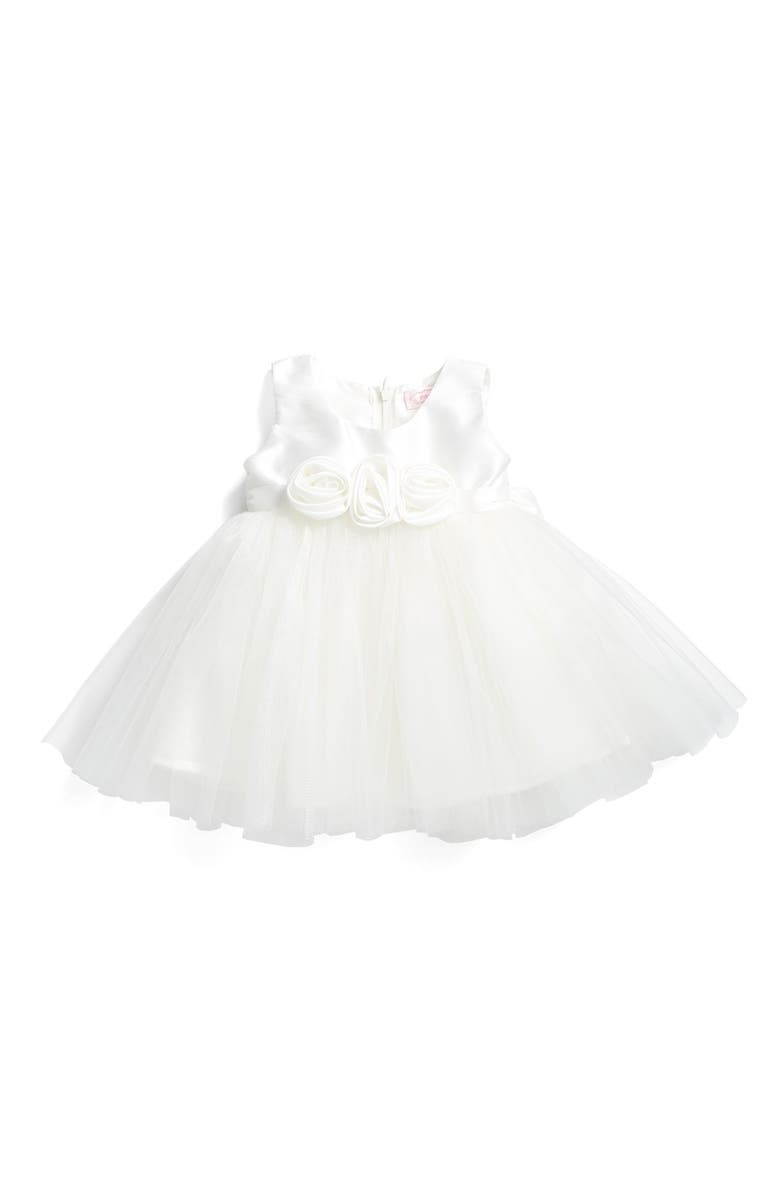 POPATU Rosette Fit & Flare Dress, Main, color, WHITE