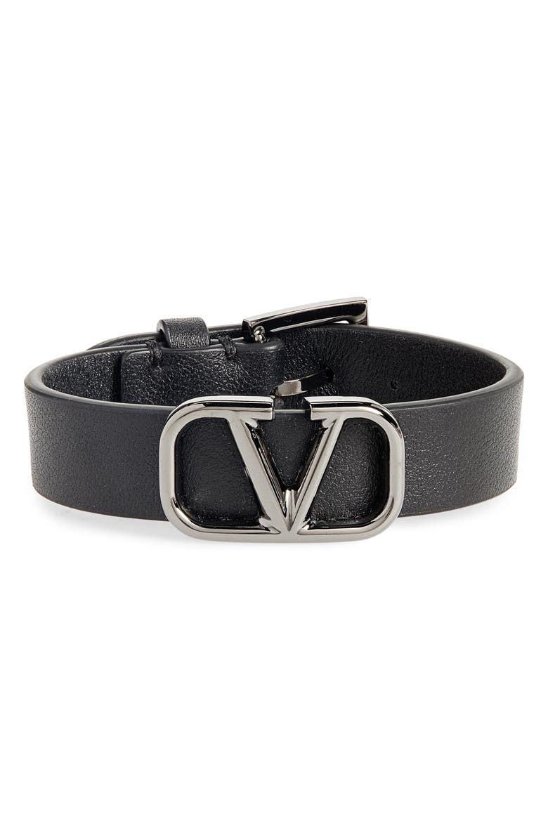 VALENTINO GARAVANI VLOGO Leather Bracelet, Main, color, 001