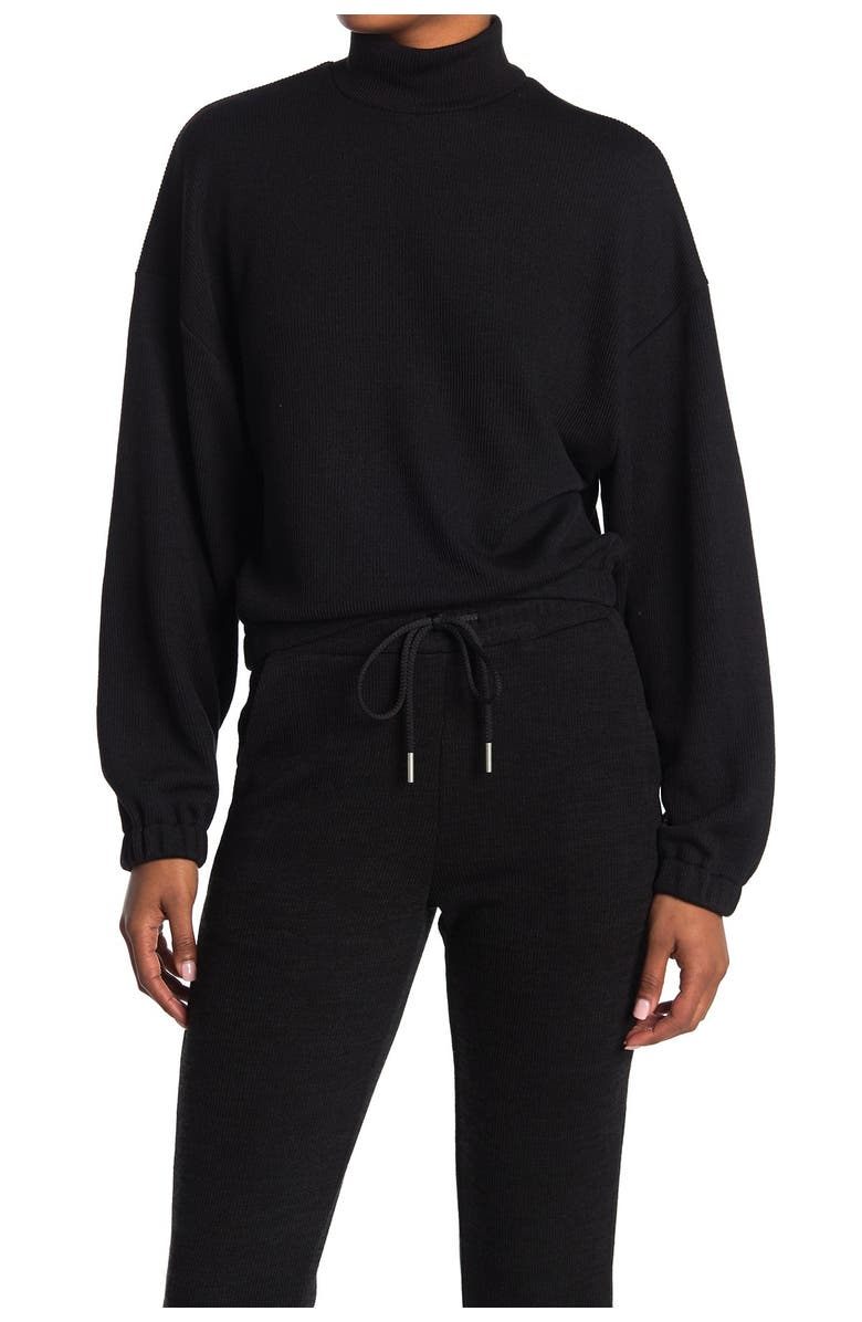 ELODIE Mock Neck Balloon Sleeve Ribbed Top, Main, color, BLACK