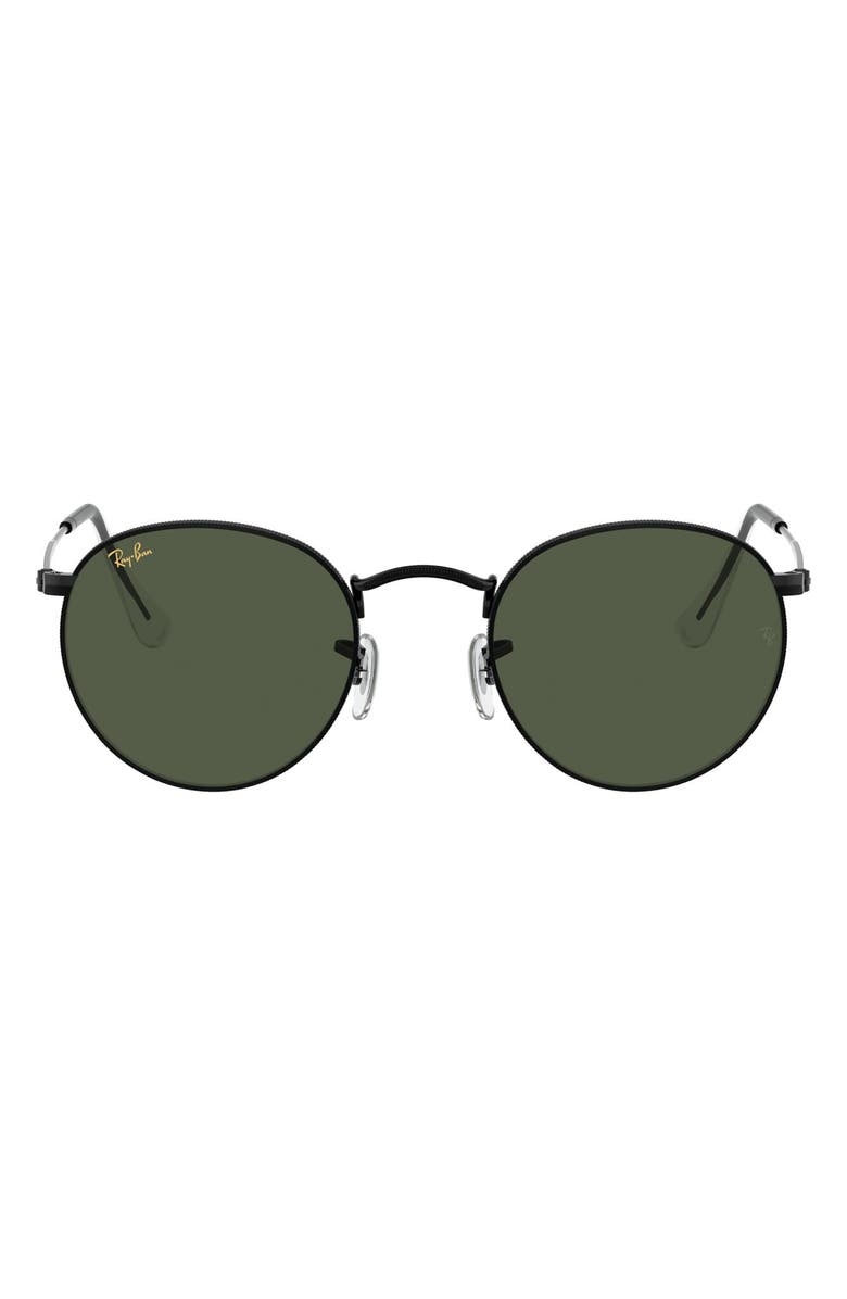 RAY-BAN Icons 53mm Retro Sunglasses, Main, color, SHINY BLACK/ GREEN