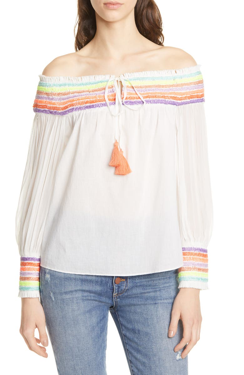 ALICE + OLIVIA Sharyl Rainbow Stripe Off the Shoulder Peasant Blouse, Main, color, 900