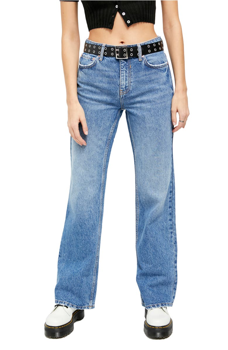 FREE PEOPLE Laurel Canyon High Waist Flare Jeans, Main, color, WILSON BLUE