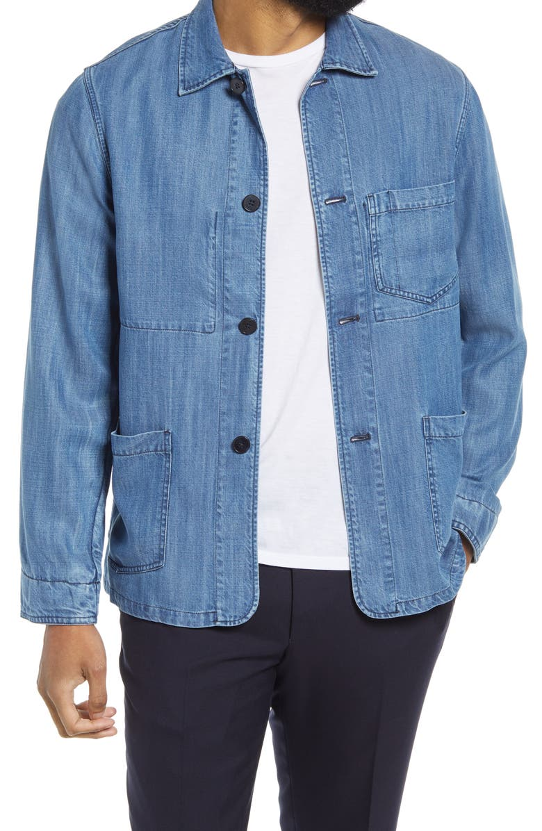 OFFICINE GÉNÉRALE Chambray Chore Jacket, Main, color, INDIGO