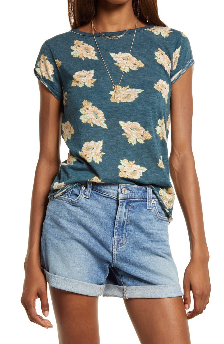 FREE PEOPLE Print Clare Tee, Main, color, NAVY GROUND FLORAL