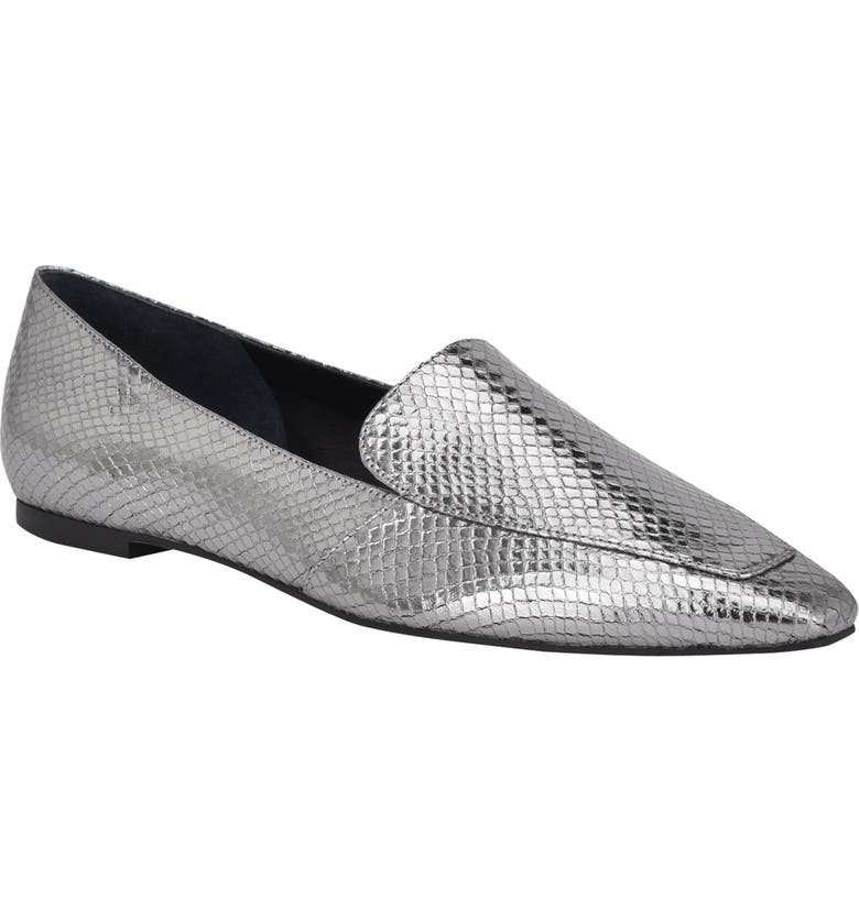 MARC FISHER LTD Enaba Square Toe Loafer, Main, color, PEWTER LEATHER
