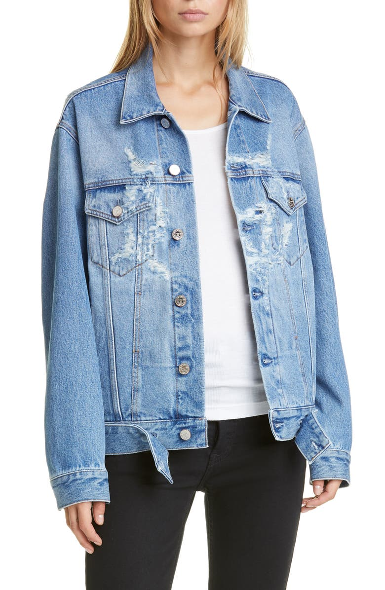VETEMENTS Anarchy Ripped Denim Jacket, Main, color, 400