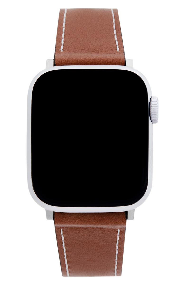 REBECCA MINKOFF Leather Apple Watch<sup>®</sup> Strap, Main, color, SADDLE