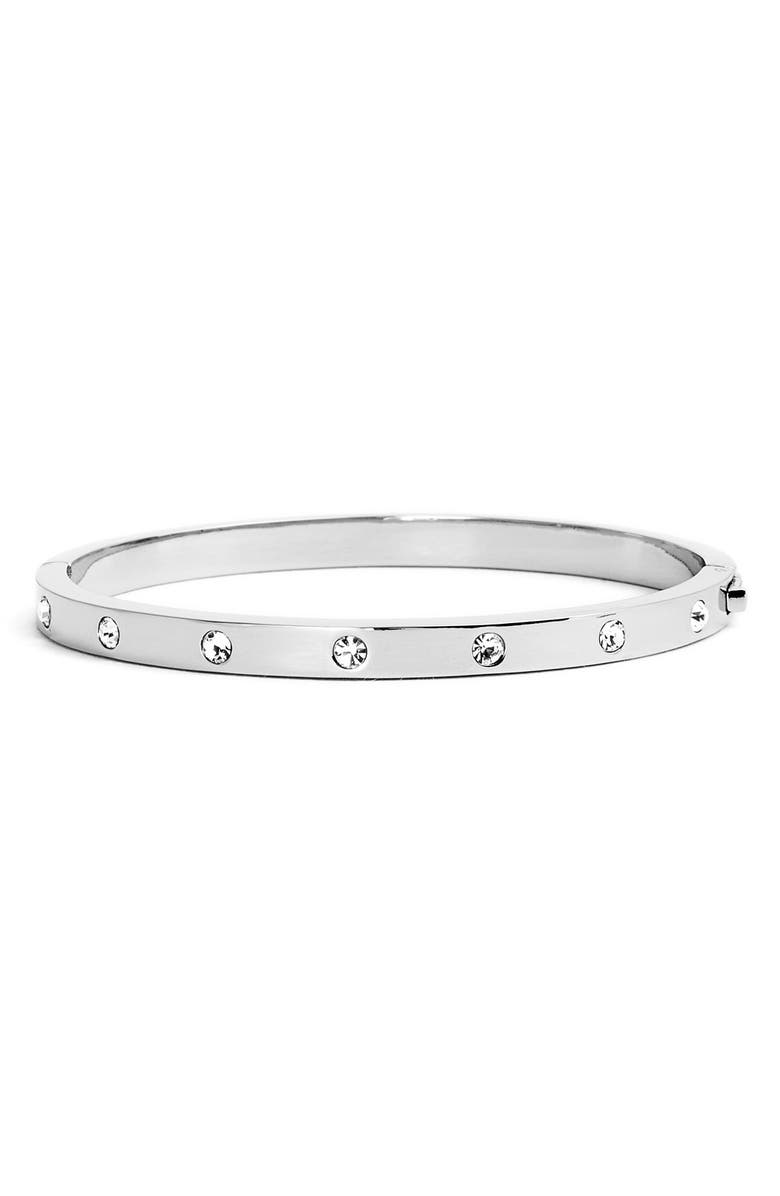 KATE SPADE NEW YORK crystal hinge bangle, Main, color, Silver