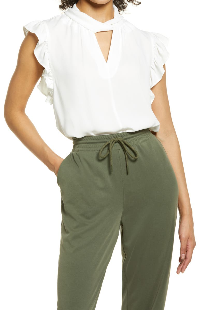 HALOGEN <sup>®</sup> Twist Neck Sleeveless Top, Main, color, IVORY CLOUD