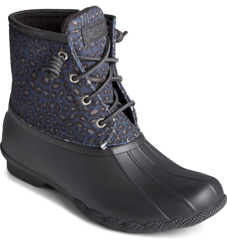 SPERRY Top-Sider<sup>®</sup> Saltwater Duck Boot, Main, color, BLUE CHEETAH PRINT FABRIC