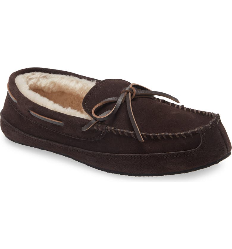 NORDSTROM Max Moccasin Slipper, Main, color, CHOCOLATE SUEDE