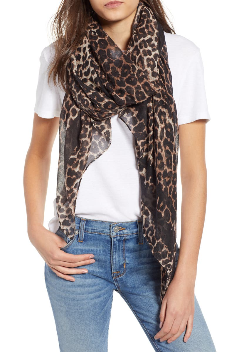 BP. Leopard Print Oblong Scarf, Main, color, 200