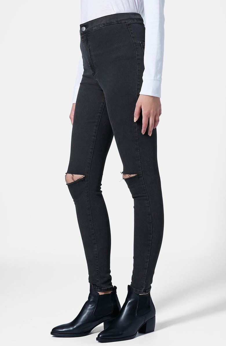 TOPSHOP 'Joni' Ripped Skinny Jeans, Main, color, 001
