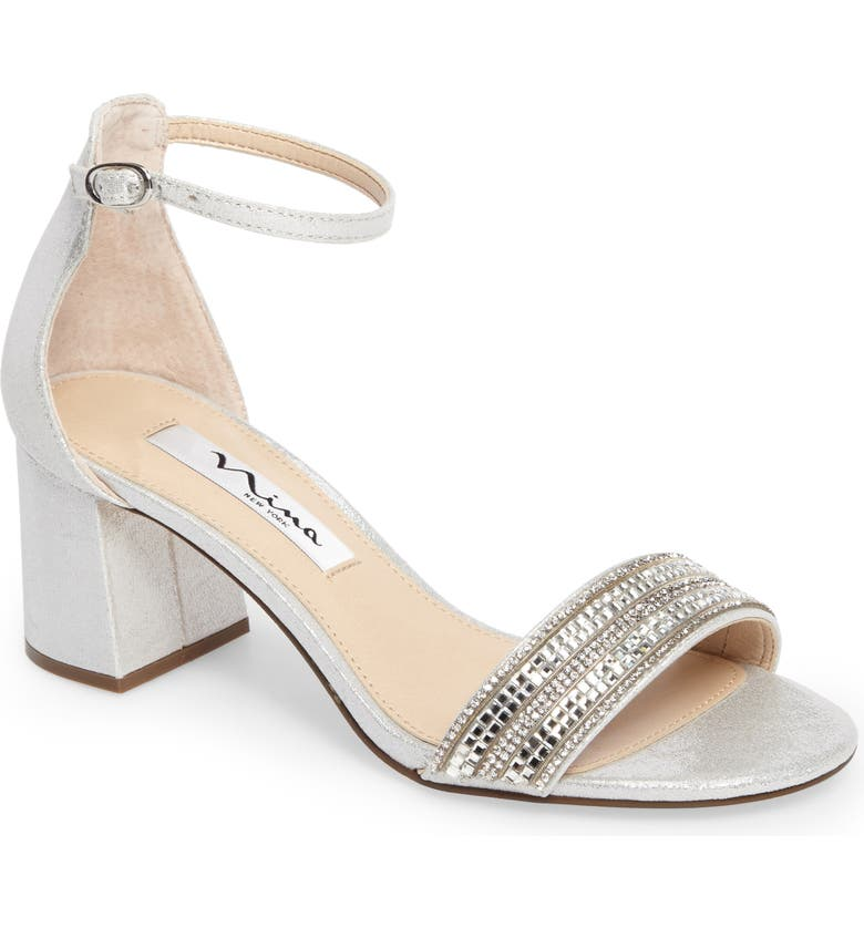 NINA Elenora Sandal, Main, color, SILVER FABRIC