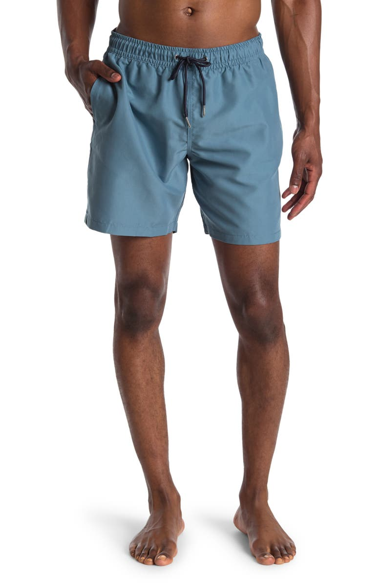 """SLATE AND STONE Cabo 6"""" Swim Trunks, Main, color, FADED GREEN"""