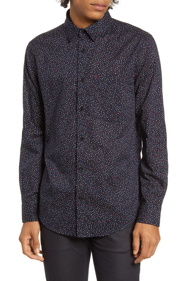 BARKING IRONS x Bob Dylan Blues Dot Print Button-Up Shirt, Main, color, 401