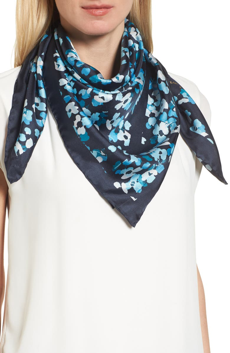 KATE SPADE NEW YORK scenic floral square silk scarf, Main, color, 415