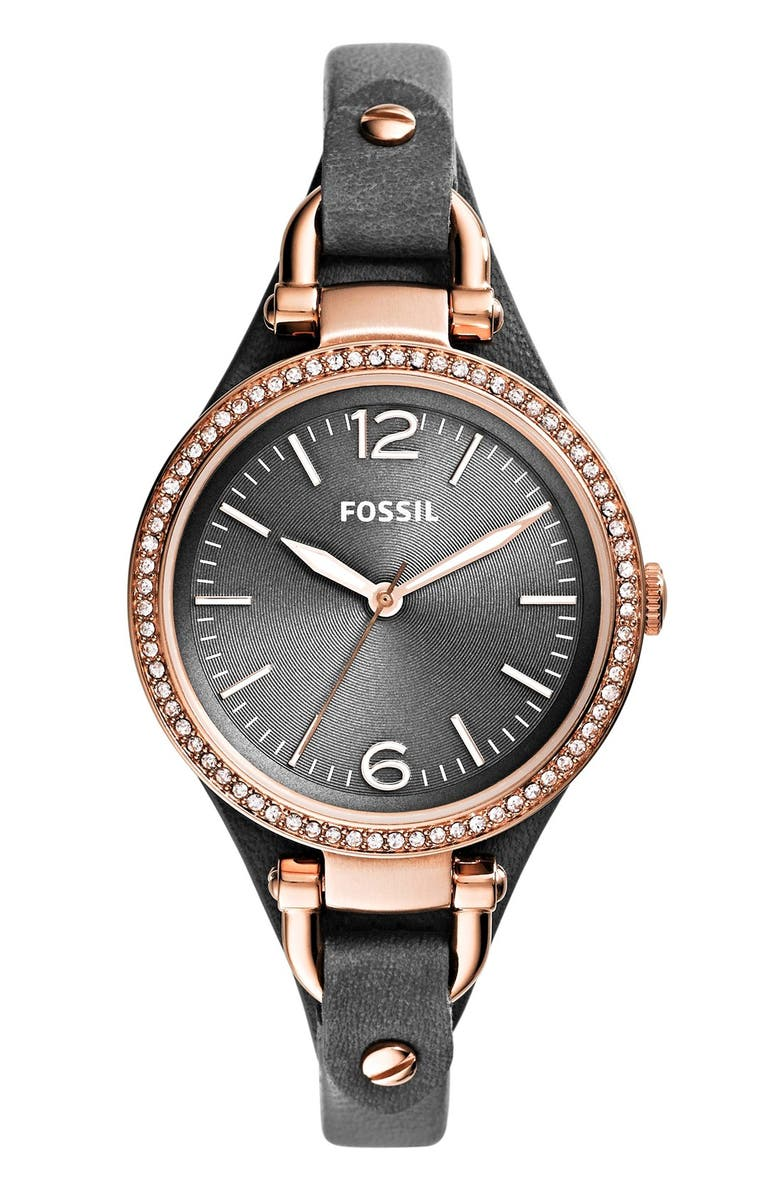 FOSSIL 'Georgia' Crystal Bezel Leather Strap Watch, 32mm, Main, color, 020
