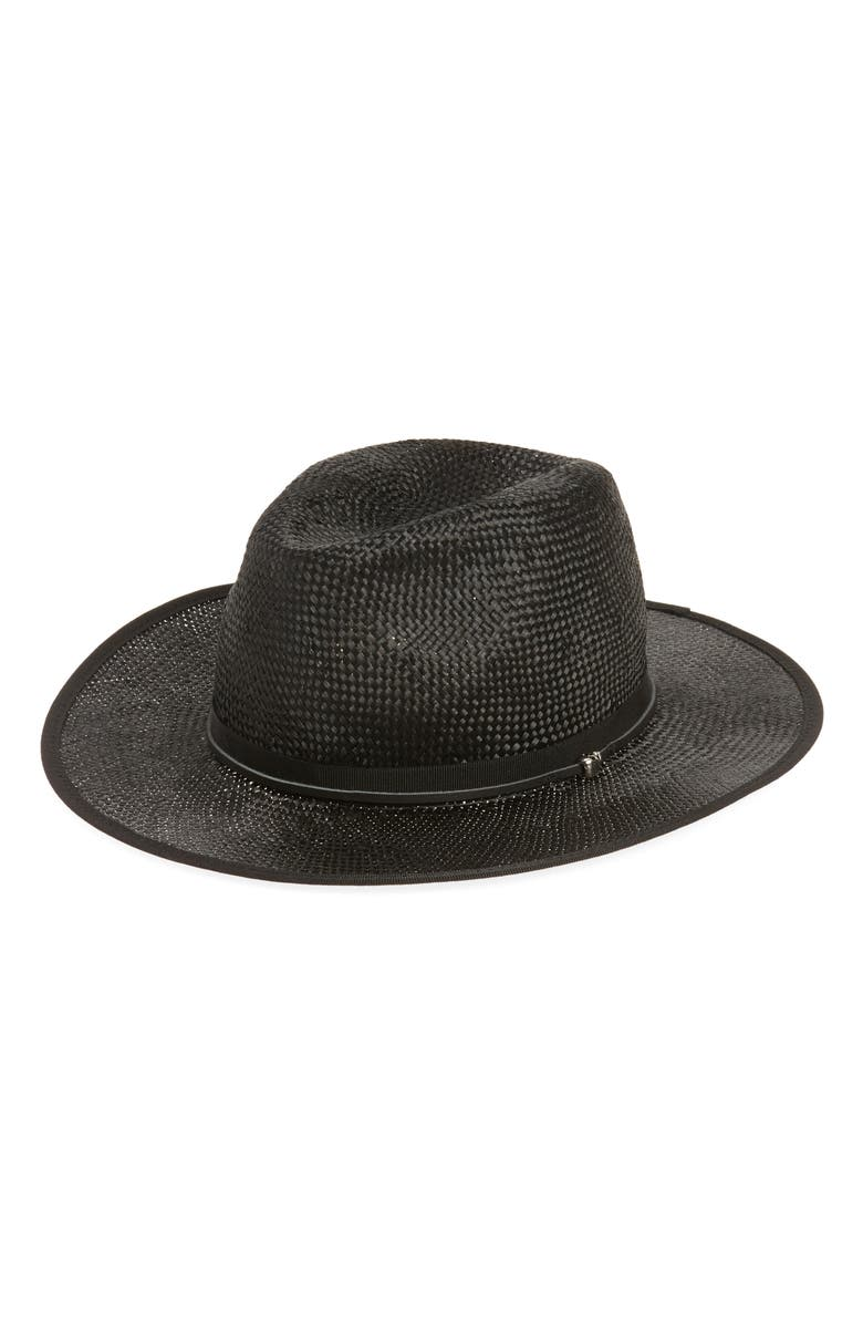 THE KOOPLES Leather Trim Straw Hat, Main, color, Black