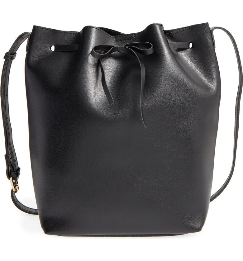 SOLE SOCIETY 'Blackwood' Faux Leather Bucket Bag, Main, color, Black