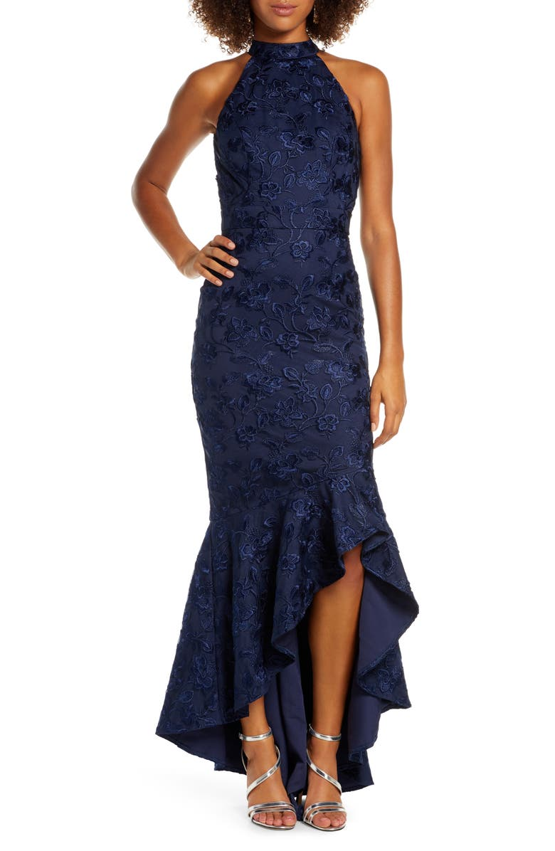 CHI CHI LONDON Lucie Halter Neck High/Low Evening Gown, Main, color, NAVY