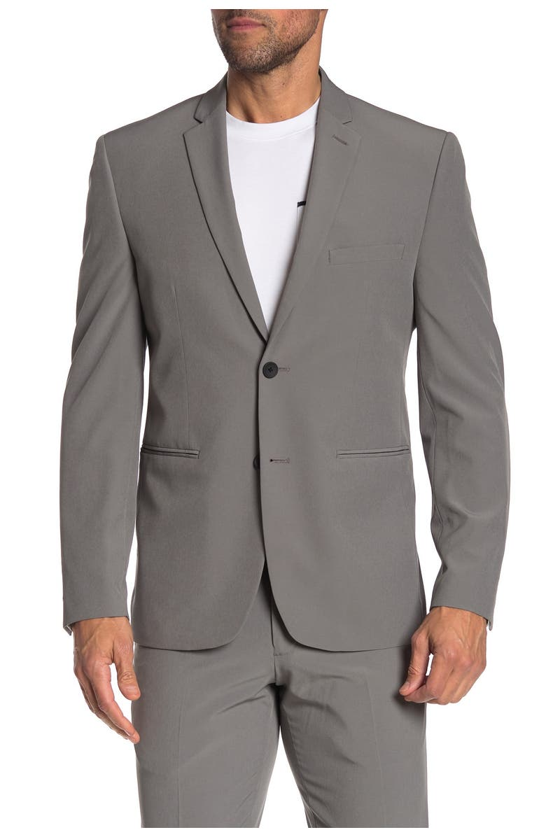 PERRY ELLIS Grey Solid Two Button Notch Lapel Very Slim Fit Performance Tech Suit Separates Jacket, Main, color, MEDIUM GREY SOLID