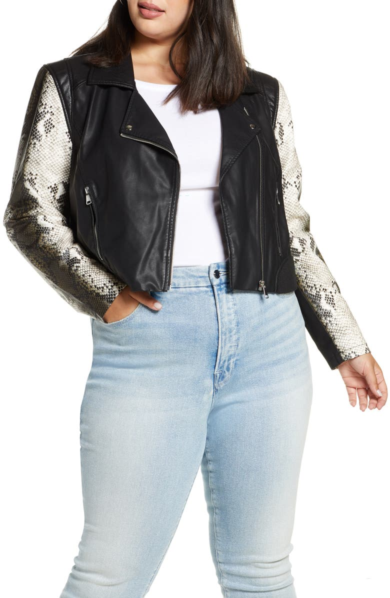 HALOGEN<SUP>®</SUP> Contrast Sleeve Faux Leather Moto Jacket, Main, color, 001