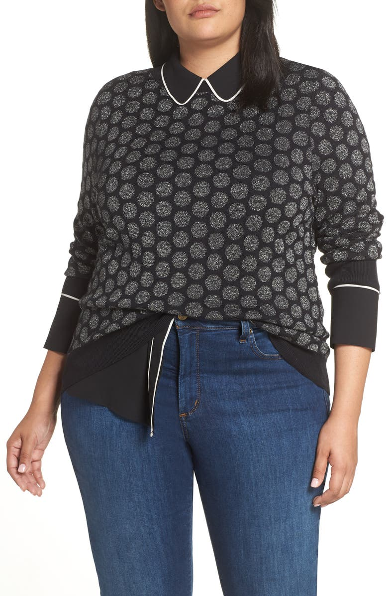 HALOGEN<SUP>®</SUP> x Atlantic-Pacific Shimmer Dot Sweater, Main, color, 001