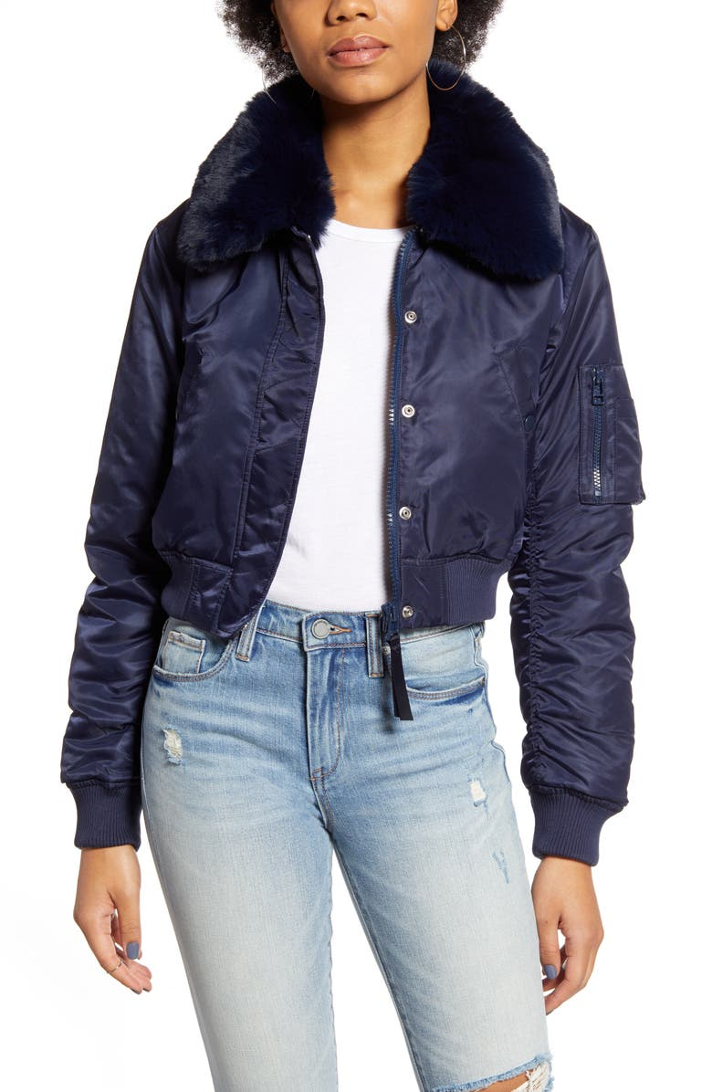 BDG URBAN OUTFITTERS Faux Fur Collar Cropped Bomber Jacket, Main, color, 400