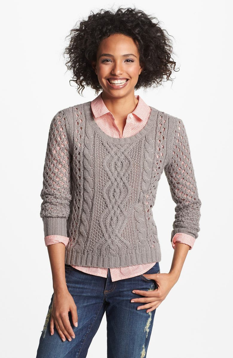 HALOGEN<SUP>®</SUP> Open Knit Cable Sweater, Main, color, 020