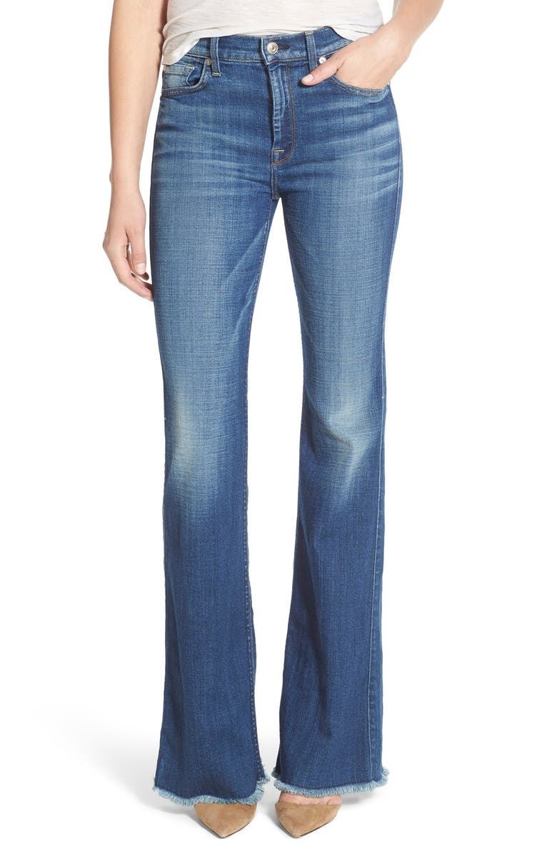 7 FOR ALL MANKIND <sup>®</sup> 'Ginger' High Rise Raw Hem Flare Jeans, Main, color, ATHENS BROKEN TWILL