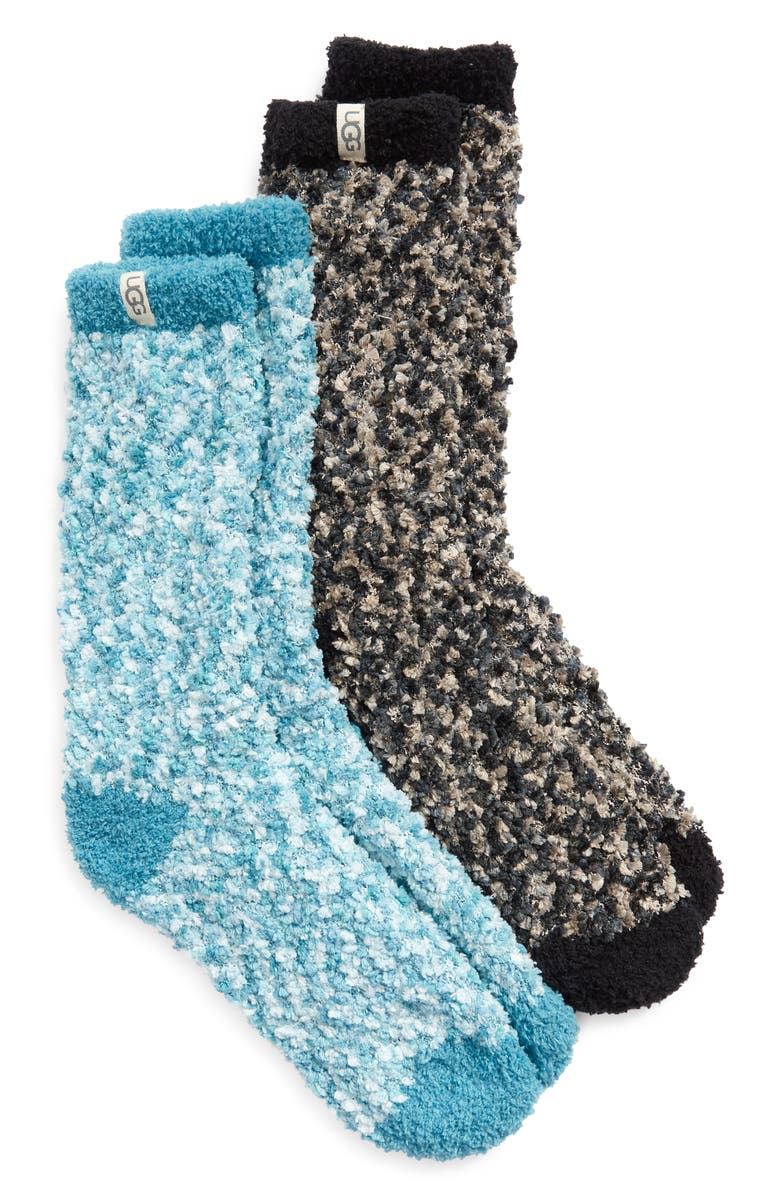 UGG<SUP>®</SUP> Assorted 2-Pack Cozy Chenille Crew Socks, Main, color, BLACK / MEDITERRANEAN BLUE