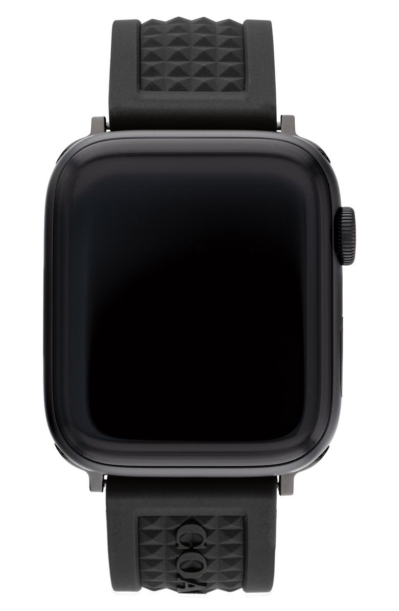 COACH Stud Textured Rubber Apple Watch<sup>®</sup> Strap, Main, color, BLACK