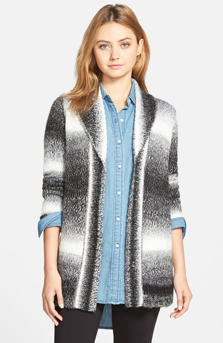 CUPCAKES AND CASHMERE 'Tiburon' Open Front Cardigan, Main, color, Black