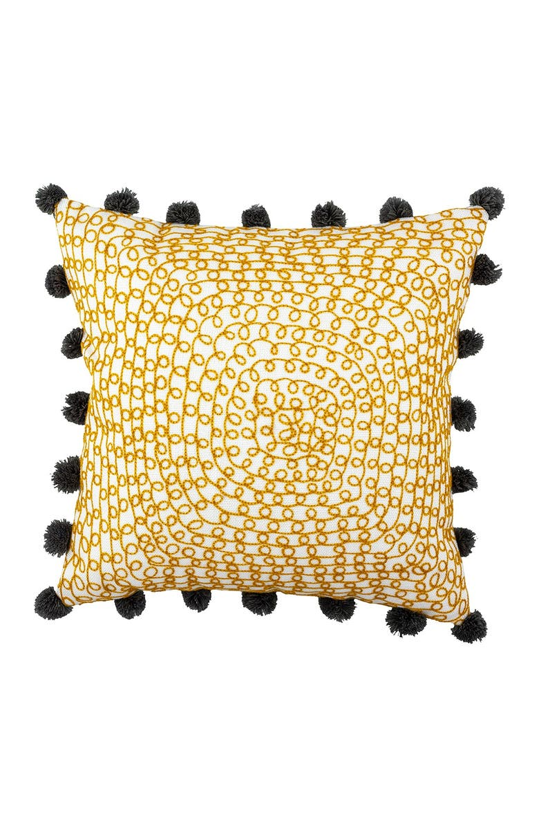 """DIVINE HOME Embroidered Infinity Loops Outdoor Pillow - 17"""" x 17"""" - Yellow Ocher/Gray, Main, color, YELLOW OCHER / GRAY"""