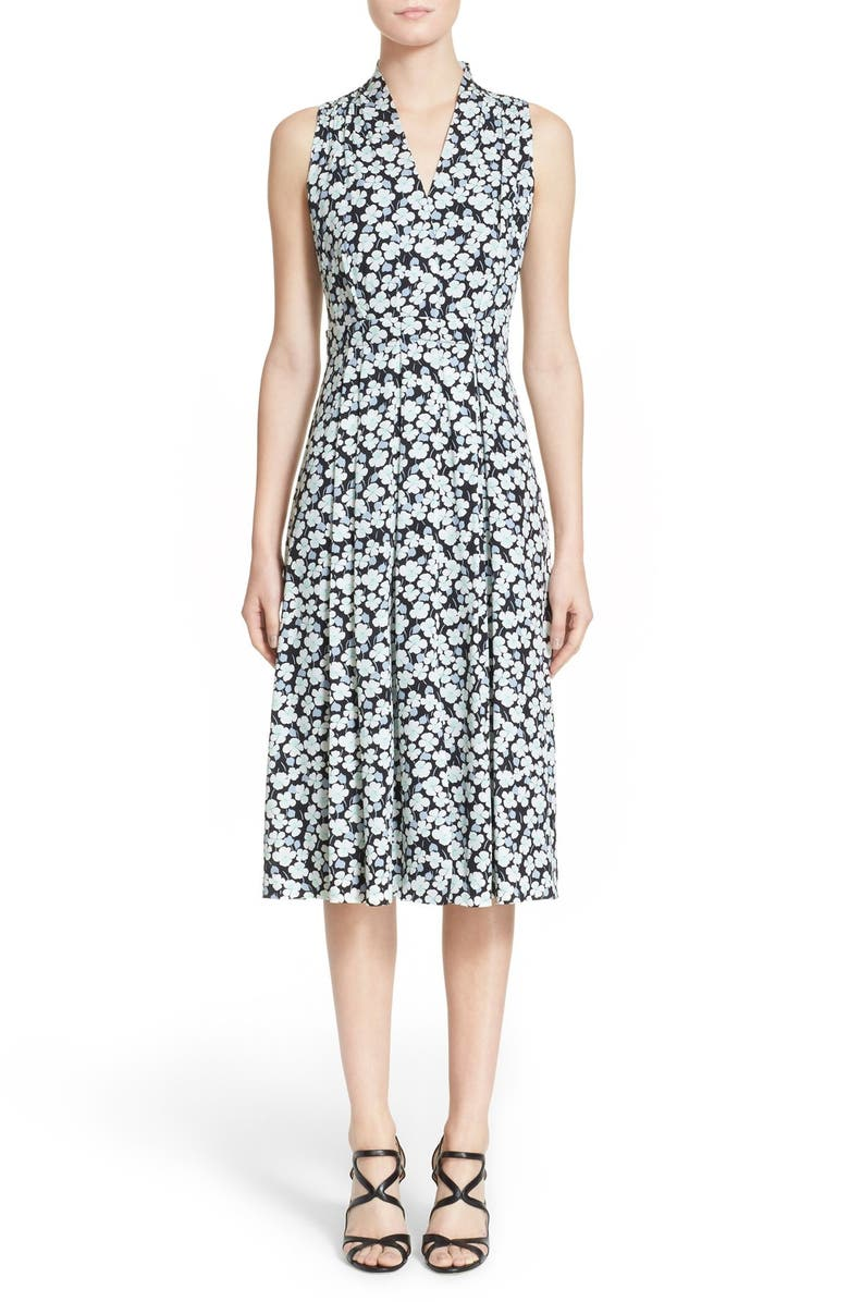 NORDSTROM SIGNATURE AND CAROLINE ISSA Floral Print Silk Twill Dress, Main, color, 001