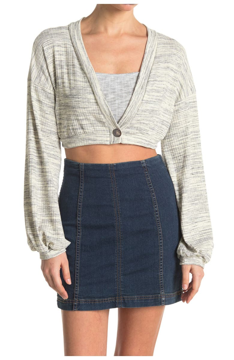 KNOWONECARES Cropped One Button Space Dyes Cardigan, Main, color, GREY