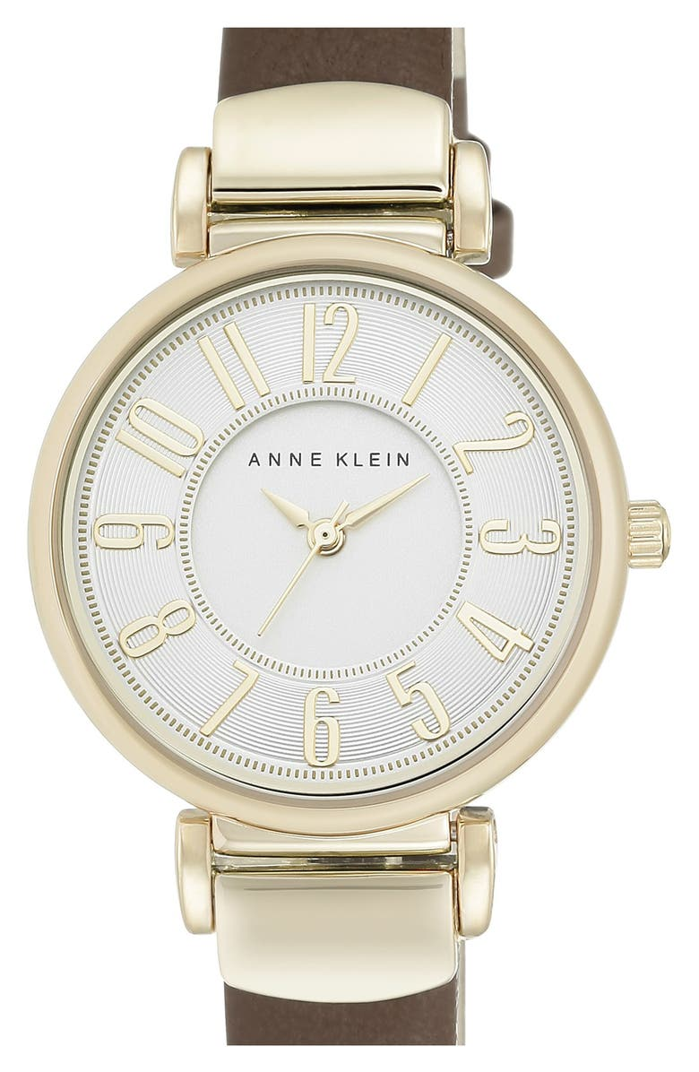 ANNE KLEIN Leather Strap Watch, 30mm, Main, color, 200